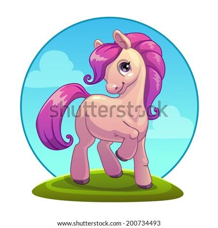 Little cartoon pony, vector - stock vector
