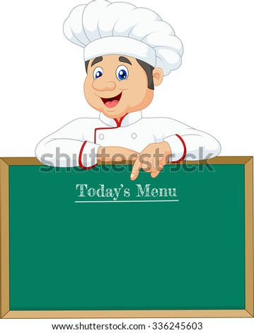 Little chef  pointing at a banner or menu - stock vector