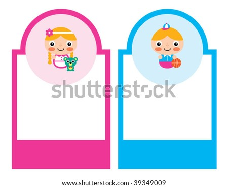little child tag - stock vector