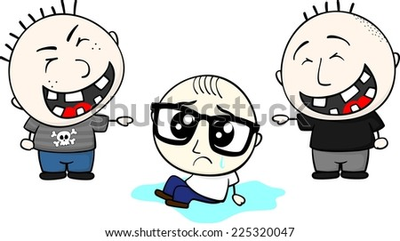 little child with eyeglasses cries and bullies mocking isolated on white background - stock vector