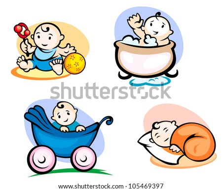 Little childs in cartoon style sleeping, washing and playing with toys. Jpeg version also available in gallery - stock vector