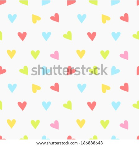 Little colorful hearts seamless pattern. Valentines Day texture - stock vector