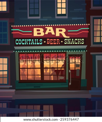 Little cozy bar on the street at night. Vector illustration. - stock vector