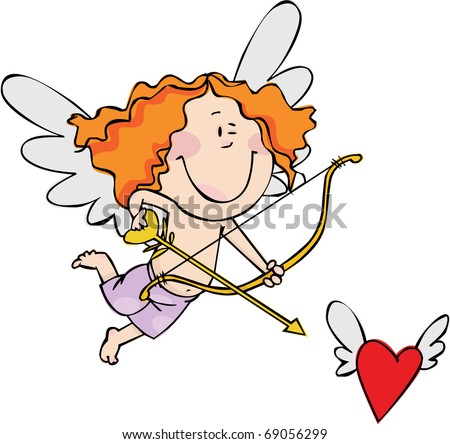 Little Cupid hunts for a heart with wings - stock vector