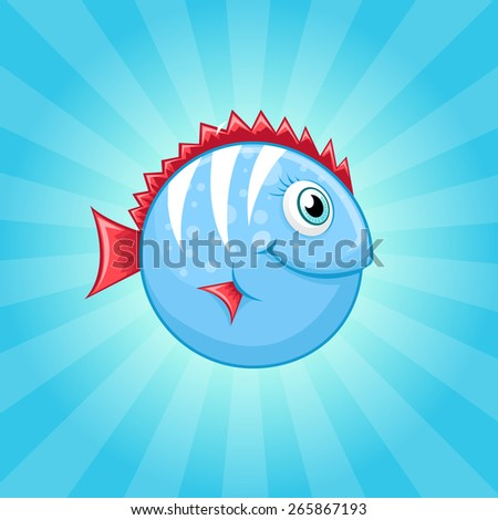 Little cute blue fish with red fins - stock vector