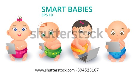 Little cute children in diapers from the device in his hands. Smart kids play educational games. Boys and girls with a phone, a tablet, laptop on the white background - stock vector