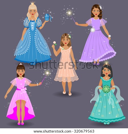 Little cute fairies and princesses in colored dresses on grey background.  - stock vector