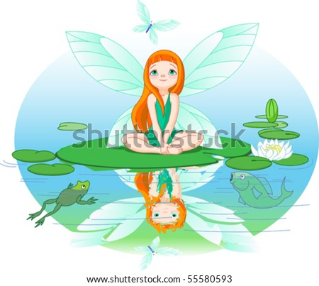 Little cute fairy observes for flying butterfly on Water lily leaf. - stock vector