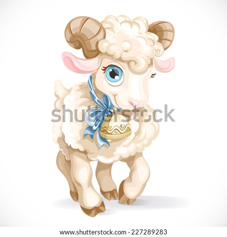Little cute lamb isolated on a white background - stock vector