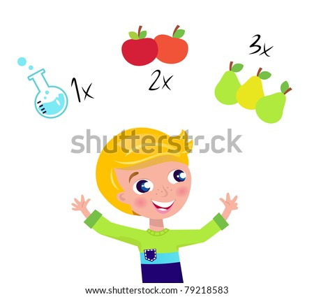 Little cute math child counting fruit. Vector Illustration. - stock vector