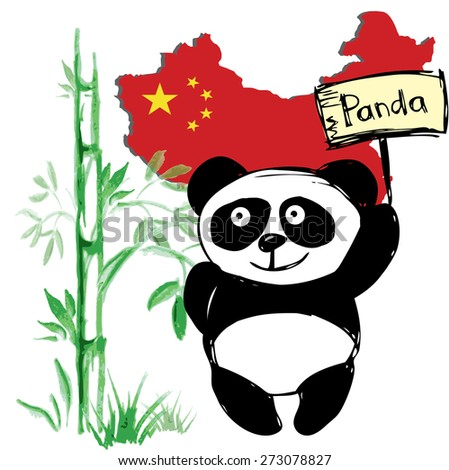 Little  cute panda  with bamboo and Chinese flag, hand drawing, vector - stock vector