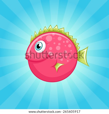 Little cute pink fish with green fins - stock vector
