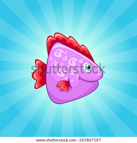 Little cute violet fish with red fins - stock vector