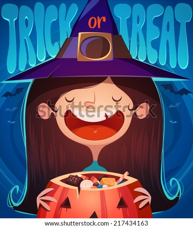 Little cute witch. Halloween poster \ background \ card. Vector illustration. - stock vector