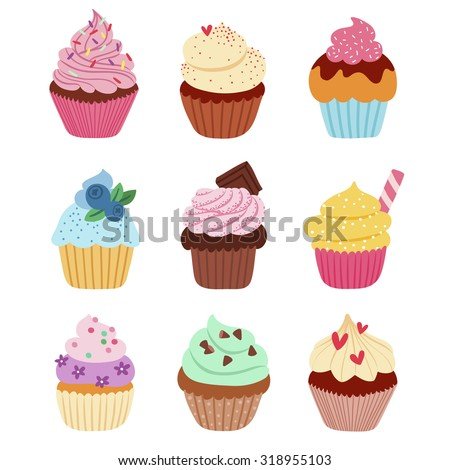 Little delicious cupcakes vector set - stock vector