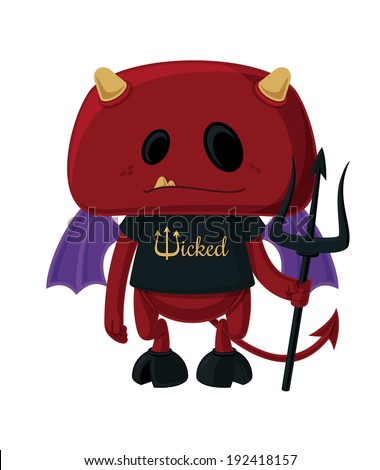 Little Devil Vector cartoon illustration of a little red devil wearing a t-shirt and holding a pitchfork. This illustration was created wholly within Adobe Illustrator using the pen and shape tools.  - stock vector
