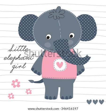 little elephant girl vector illustration - stock vector