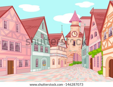 Little Europe town street - stock vector