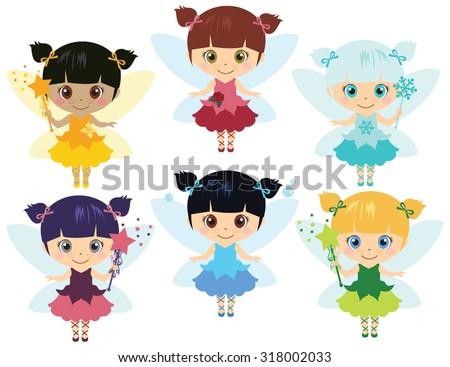 Little Fairies - stock vector