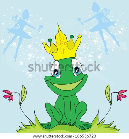 little fairies and frog  - stock vector