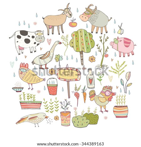 little farm, animals, pig, cow, chicken, color,  - stock vector