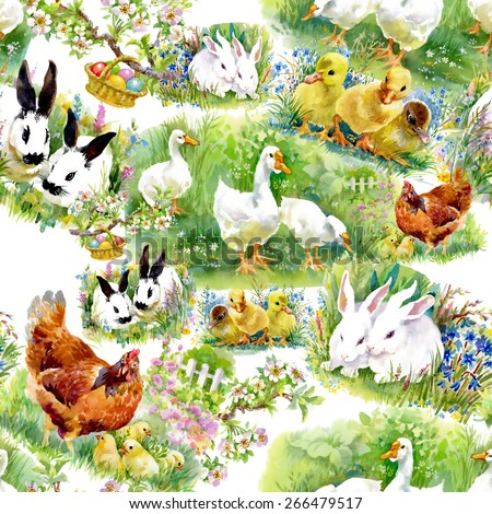 Little fluffy cute watercolor ducklings, chickens and hares with eggs seamless pattern on white background vector illustration - stock vector