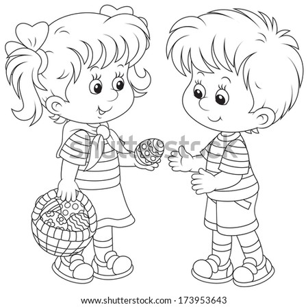 Little girl and boy on Easter Day - stock vector