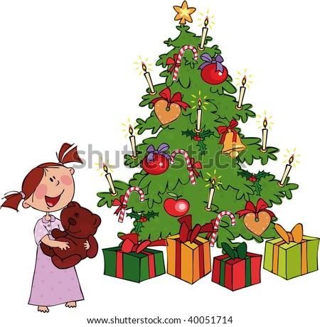 Little girl and Christmas Tree - stock vector