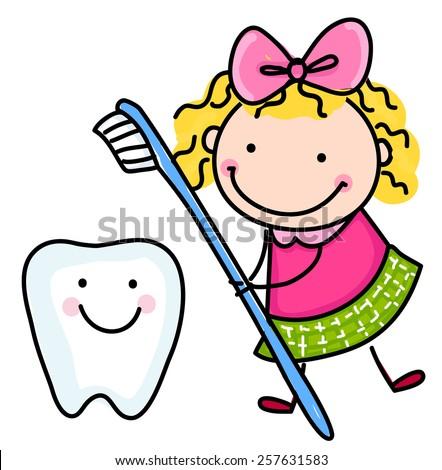 Little girl and teeth - stock vector