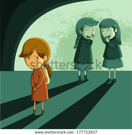 little girl being bullied by other girls - stock vector