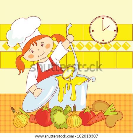 little girl chef cooks soup - stock vector