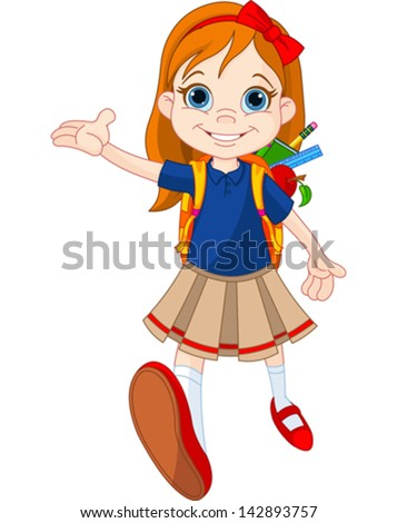 Little girl come to school - stock vector