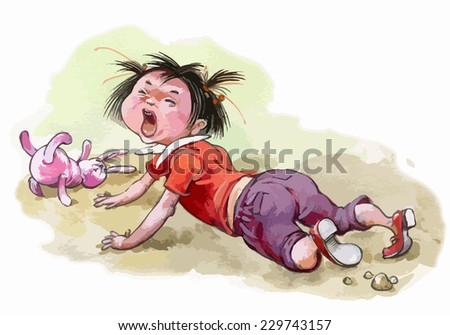 Little girl crying. Children illustration for School books, magazines, advertising and more. Separate Objects. VECTOR. - stock vector