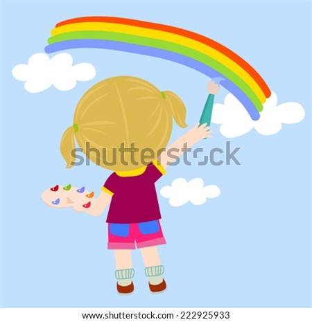 Little girl drawing - stock vector