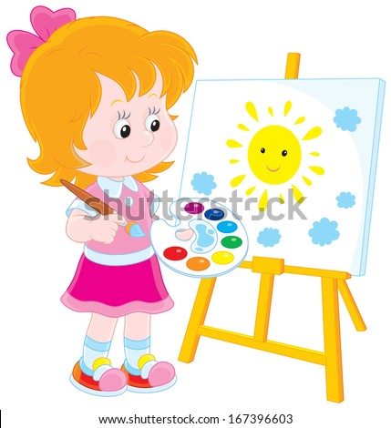 Little girl drawing a picture with a smiling yellow sun and small blue clouds - stock vector