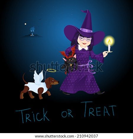 Little Girl dressed like Witch with a little black cat dressed like Devil and a dog dressed like Angel on Halloween. Greeting Card. Vector illustration. - stock vector