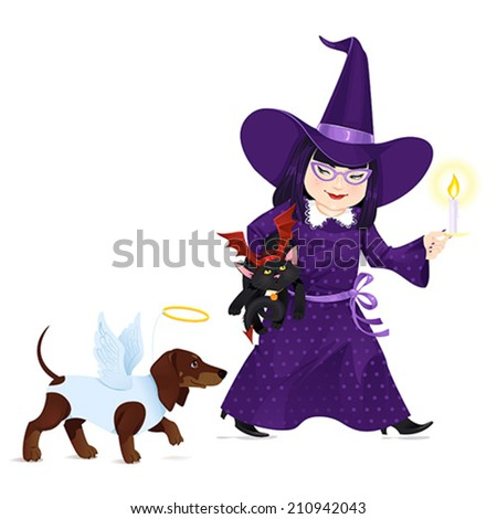 Little Girl dressed like Witch with a little black cat dressed like Devil and a dog dressed like Angel on Halloween. Vector illustration. - stock vector