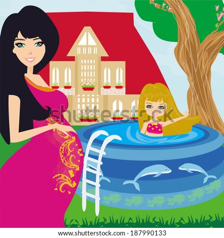 little girl in outdoor pool and her young pregnant mom - stock vector