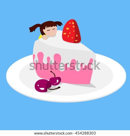 little girl on her birthday cake. Vector illustration. EPS10 - stock vector