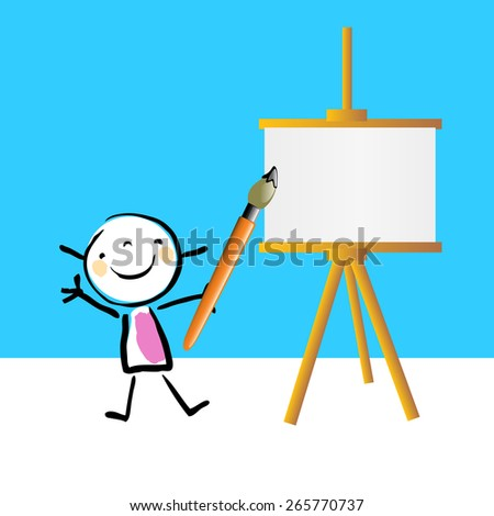 Little girl painting on easel, cute smiling artist kid. Happy kids, educational doodle style sketchy vector illustration. - stock vector
