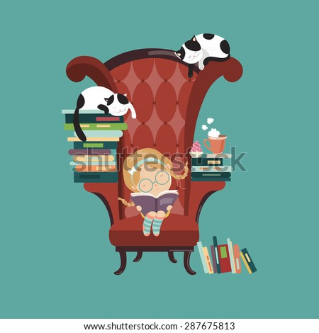 Little girl reading a book. Vector isolated illustration - stock vector
