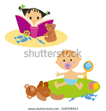 Little girl reading book. Baby with toy. Isolated on white background - stock vector