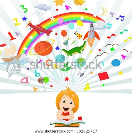 Little girl reading book education concept illustration - stock vector