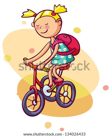 Little girl rides a bicycle. Kid enjoys summer - stock vector