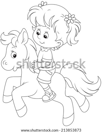 Little girl riding a pony - stock vector