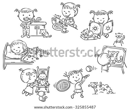 Little girl's daily activities, such as reading, eating, sleeping, drawing, playing, black and white outline - stock vector
