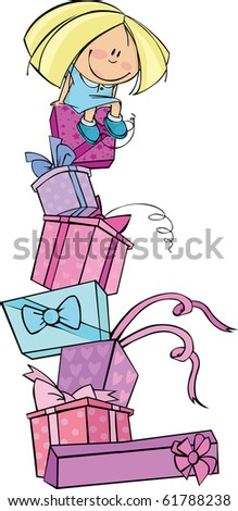 Little girl sits on a huge pile of gifts - stock vector