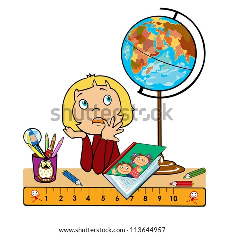 little  girl sitting at table with globe,book and cup with pencils,children vector picture isolated on white background,back to school - stock vector