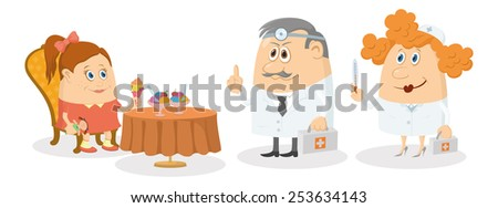 Little girl sitting near table, smiling and eating ice cream while two doctors with first aid kits strictly threaten her, warning of cold, funny cartoon characters, isolated on white background - stock vector