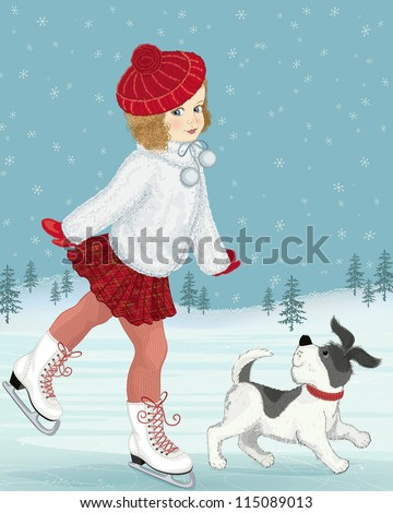 Little girl skating accompanied by her dog - stock vector